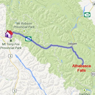 Map to Athabasca Falls